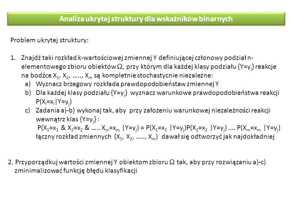Analiza ukrytej struktury dla wskaźników binarnych Problem ukrytej struktury: 1.Znajdź taki rozkład k-wartościowej zmiennej Y definiującej członowy po