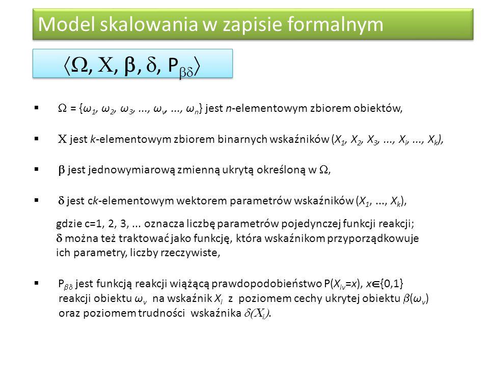 Model skalowania w zapisie formalnym , , , , P     = {ω 1, ω 2, ω 3,..., ω v,..., ω n } jest n-elementowym zbiorem obiektów,   jest k-elem