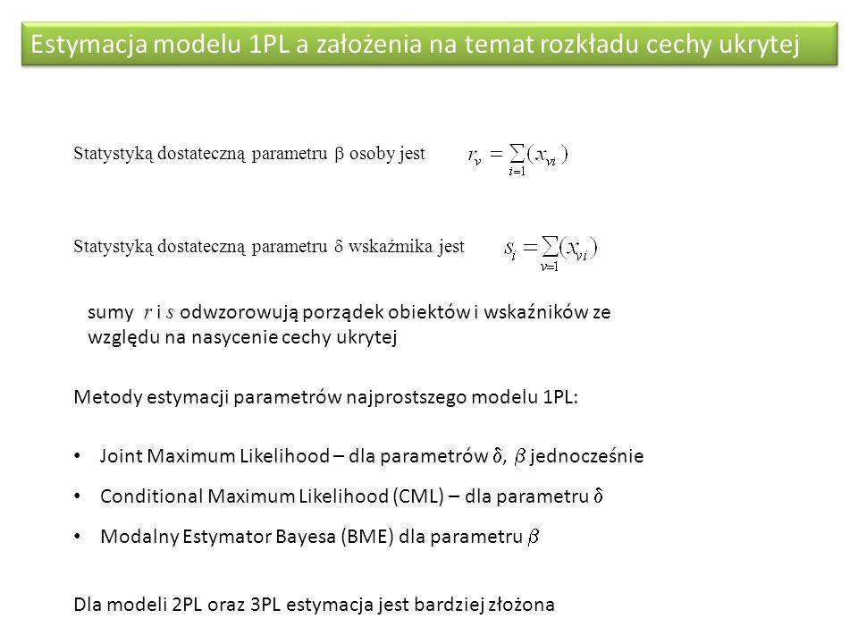Estymacja modelu 1PL a założenia na temat rozkładu cechy ukrytej Statystyką dostateczną parametru  osoby jest Statystyką dostateczną parametru  wska