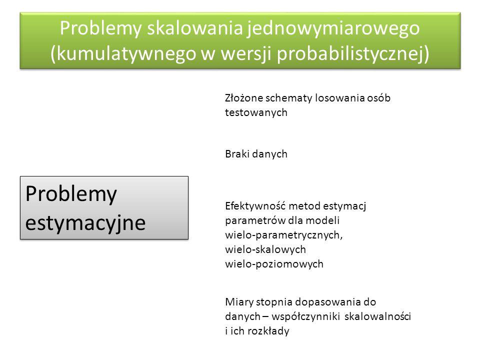 Problemy skalowania jednowymiarowego (kumulatywnego w wersji probabilistycznej) Problemy estymacyjne Złożone schematy losowania osób testowanych Braki