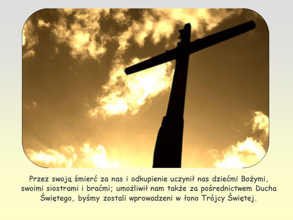 Przez swoją śmierć za nas i odkupienie uczynił nas dziećmi Bożymi, swoimi siostrami i braćmi; umożliwił nam także za pośrednictwem Ducha Świętego, byśmy zostali wprowadzeni w łono Trójcy Świętej.