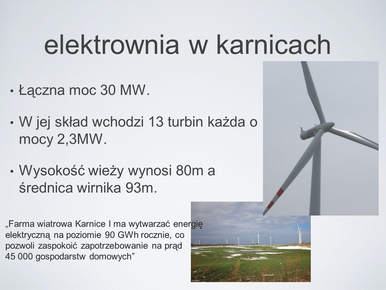"""elektrownia w karnicach Łączna moc 30 MW. W jej skład wchodzi 13 turbin każda o mocy 2,3MW. Wysokość wieży wynosi 80m a średnica wirnika 93m. """"Farma w"""