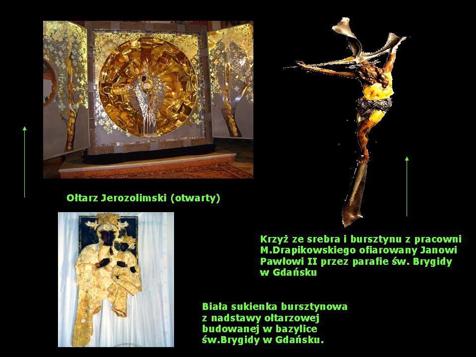Eksponaty wyrobów bursztyniarskich z galerii rosyjskich