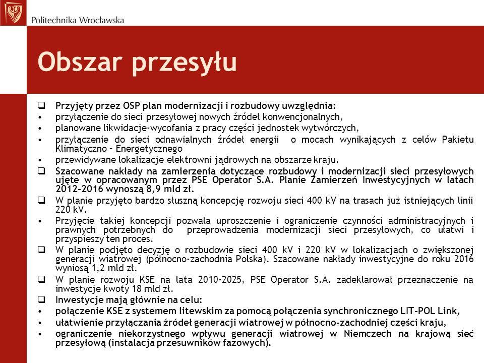 Obszar przesyłu  Przyjęty przez OSP plan modernizacji i rozbudowy uwzględnia: przyłączenie do sieci przesyłowej nowych źródeł konwencjonalnych, plano