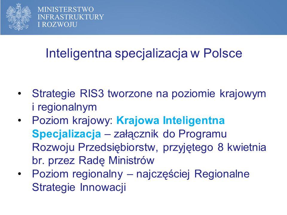 Inteligentna specjalizacja w Polsce - koordynacja Strategie krajowa i regionalne powstawały według wytycznych Komisji Europejskiej oraz wskazówek Platformy S3, jednak niezależnie (według różnych metodologii).