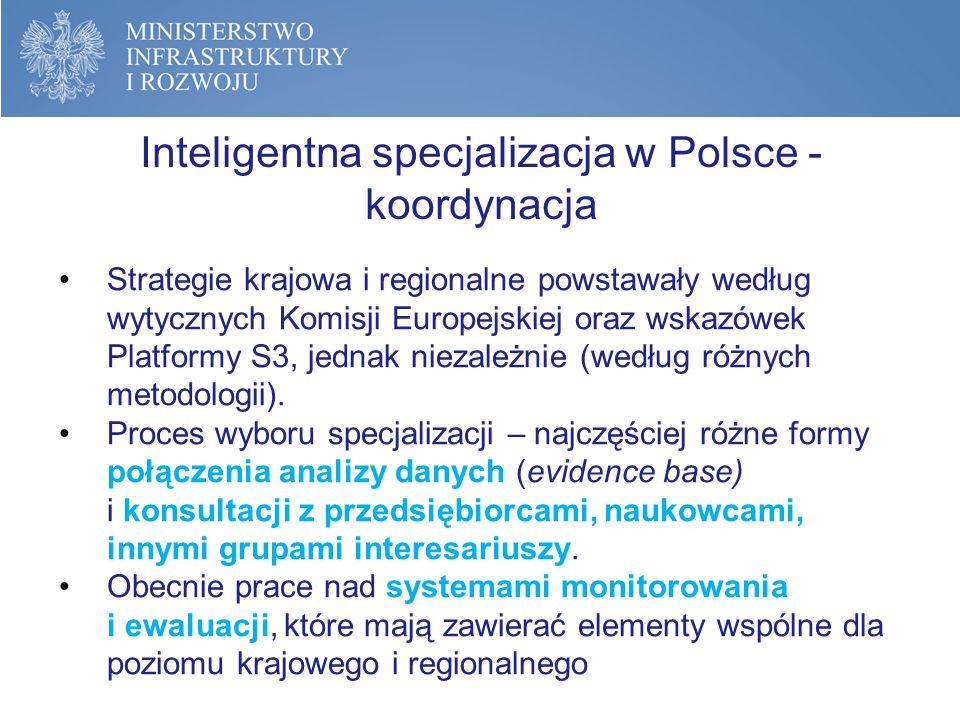 Inteligentna specjalizacja w Polsce – stan przygotowań Polska jest jednym z najbardziej zaawansowanych krajów w pracach nad inteligentnymi specjalizacjami Dalszych prac wymaga: Proces przedsiębiorczego odkrywania (współpraca z przedsiębiorcami, rozpoznawanie potrzeb) Systemy monitorowania i ewaluacji Budżet strategii Opracowany został Plan Działań dla spełnienia warunku (do końca 2015 r.)