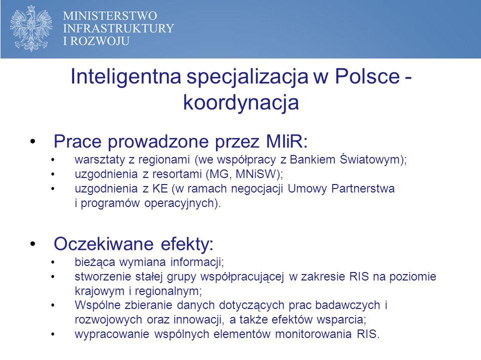 Inteligentna specjalizacja w Polsce - koordynacja Prace prowadzone przez MIiR: warsztaty z regionami (we współpracy z Bankiem Światowym); uzgodnienia z resortami (MG, MNiSW); uzgodnienia z KE (w ramach negocjacji Umowy Partnerstwa i programów operacyjnych).