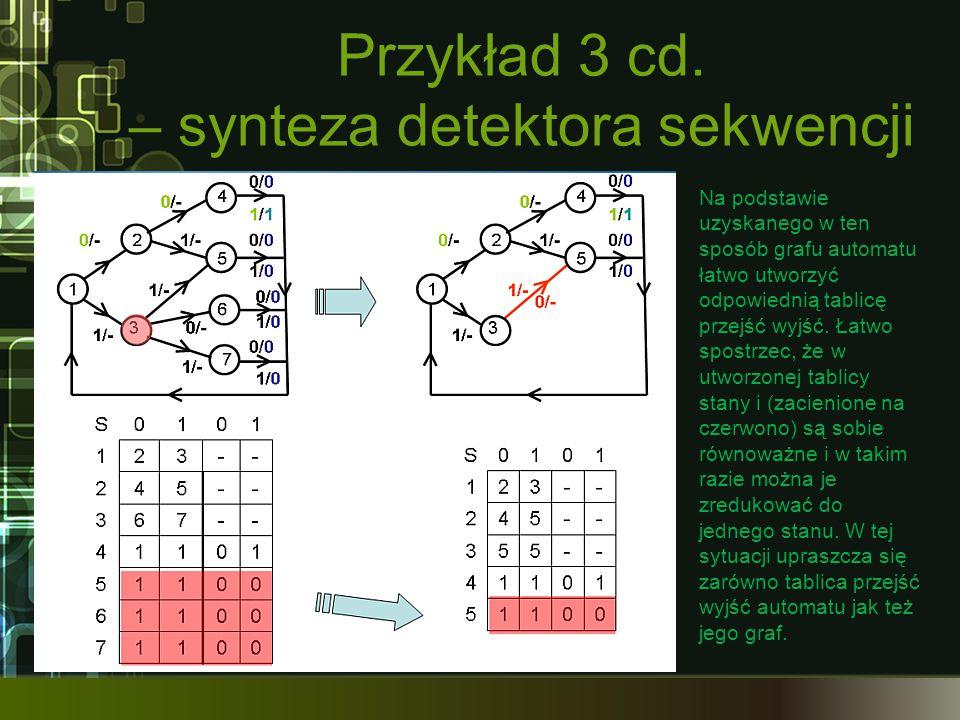 Przykład 3 cd. – synteza detektora sekwencji Na podstawie uzyskanego w ten sposób grafu automatu łatwo utworzyć odpowiednią tablicę przejść wyjść. Łat