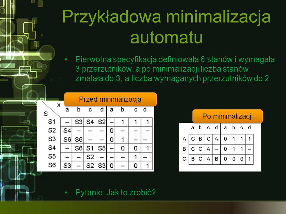 Przykładowa minimalizacja automatu Pierwotna specyfikacja definiowała 6 stanów i wymagała 3 przerzutników, a po minimalizacji liczba stanów zmalała do
