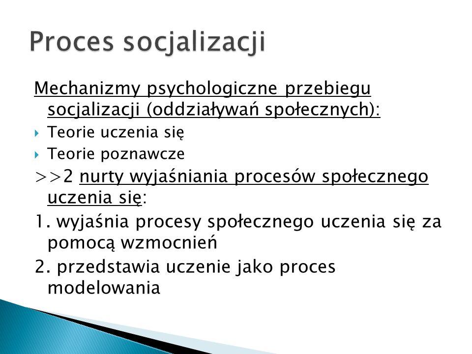Mechanizmy psychologiczne przebiegu socjalizacji (oddziaływań społecznych):  Teorie uczenia się  Teorie poznawcze >>2 nurty wyjaśniania procesów społecznego uczenia się: 1.