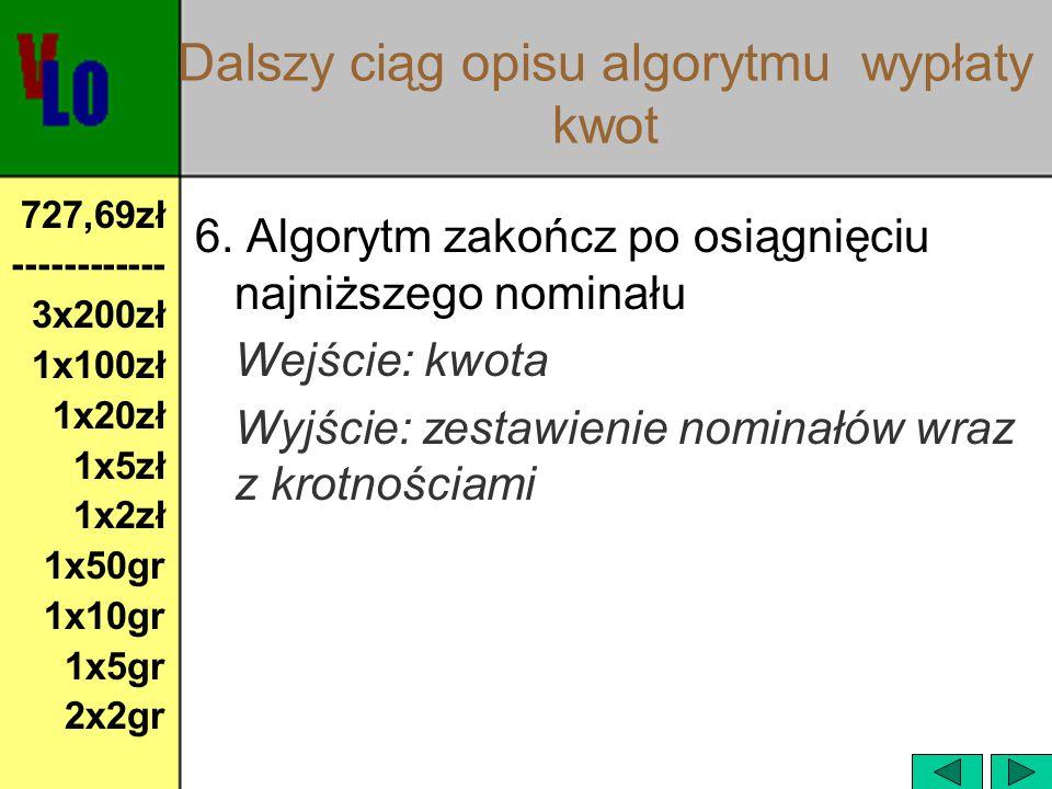 Prezentacja algorytmu wypłata kwot w arkuszu kalkulacyjnym  Plik: bank.xlsbank.xls