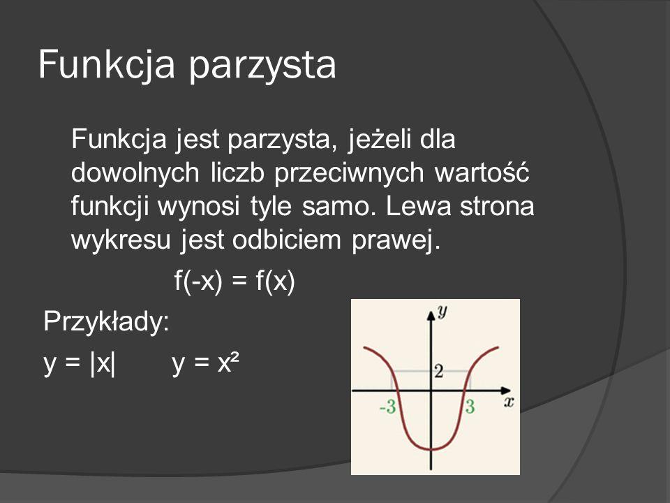 Funkcja parzysta Funkcja jest parzysta, jeżeli dla dowolnych liczb przeciwnych wartość funkcji wynosi tyle samo. Lewa strona wykresu jest odbiciem pra