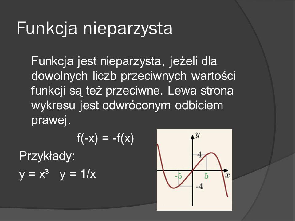 Funkcja nieparzysta Funkcja jest nieparzysta, jeżeli dla dowolnych liczb przeciwnych wartości funkcji są też przeciwne. Lewa strona wykresu jest odwró
