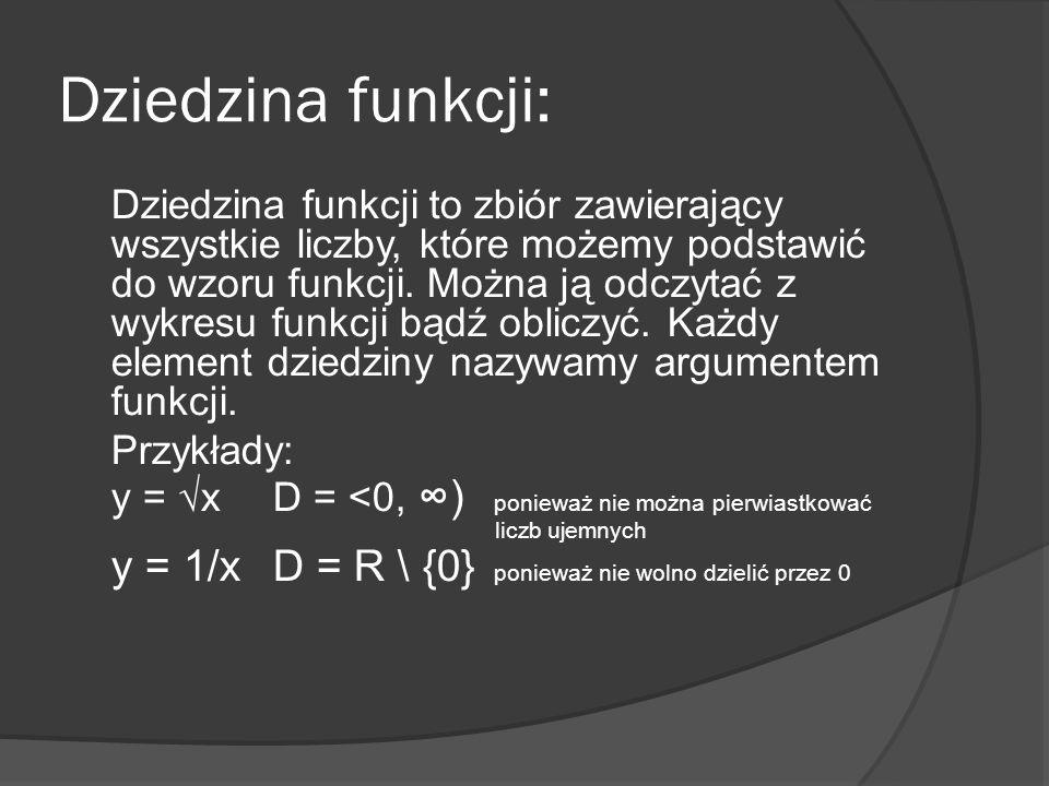 Dziedzina funkcji: Dziedzina funkcji to zbiór zawierający wszystkie liczby, które możemy podstawić do wzoru funkcji. Można ją odczytać z wykresu funkc
