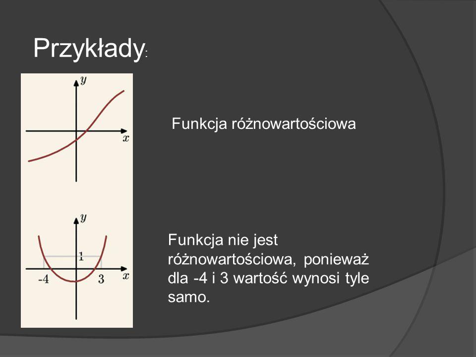 Przykłady : Funkcja różnowartościowa Funkcja nie jest różnowartościowa, ponieważ dla -4 i 3 wartość wynosi tyle samo.