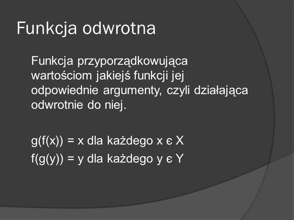 Funkcja odwrotna Funkcja przyporządkowująca wartościom jakiejś funkcji jej odpowiednie argumenty, czyli działająca odwrotnie do niej. g(f(x)) = x dla
