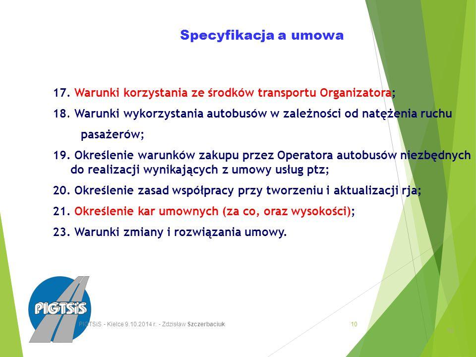 Specyfikacja a umowa 17. Warunki korzystania ze środków transportu Organizatora; 18.