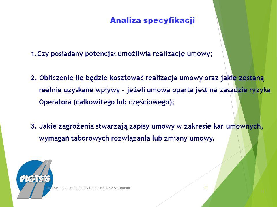 Analiza specyfikacji 1.Czy posiadany potencjał umożliwia realizację umowy; 2.