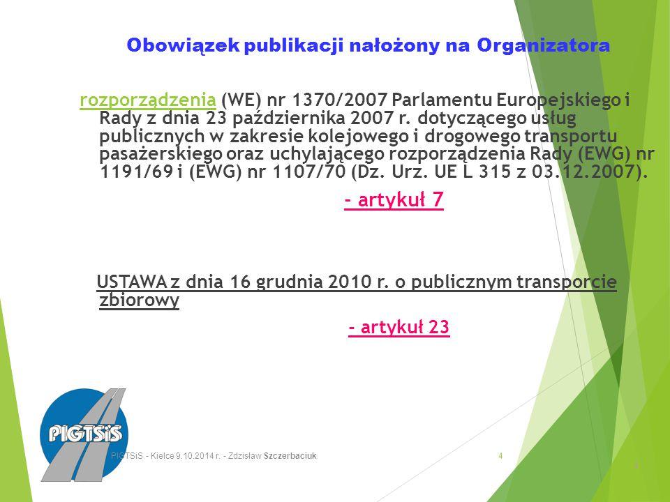 Obowiązek publikacji nałożony na Organizatora rozporządzenia (WE) nr 1370/2007 Parlamentu Europejskiego i Rady z dnia 23 października 2007 r.