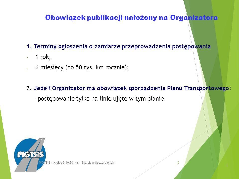 Obowiązek publikacji nałożony na Organizatora 1.