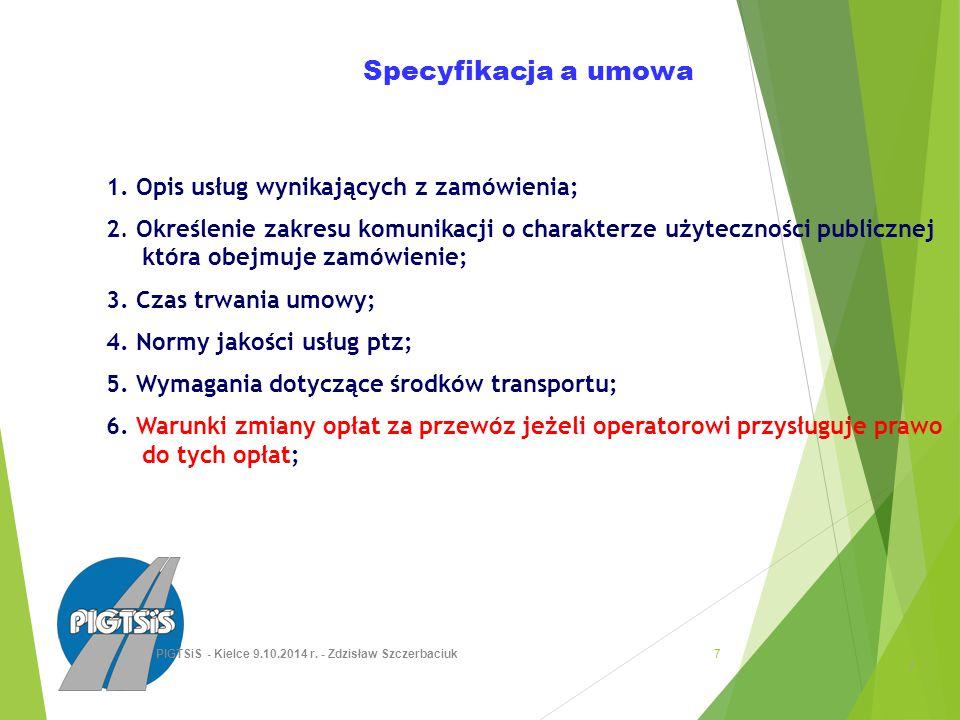 Specyfikacja a umowa 1. Opis usług wynikających z zamówienia; 2.