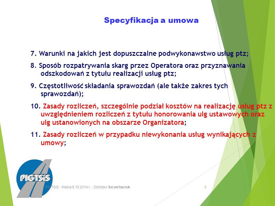 Specyfikacja a umowa 12.Określenie strony której przysługują opłaty za przewóz; 13.