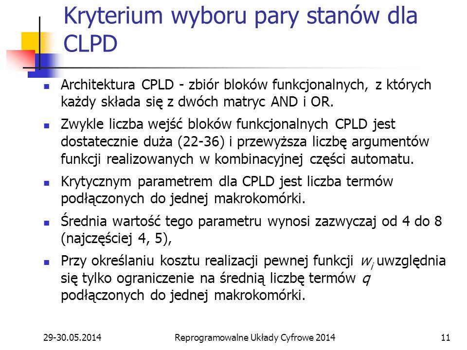 29-30.05.2014Reprogramowalne Układy Cyfrowe 201411 Kryterium wyboru pary stanów dla CLPD Architektura CPLD - zbiór bloków funkcjonalnych, z których każdy składa się z dwóch matryc AND i OR.