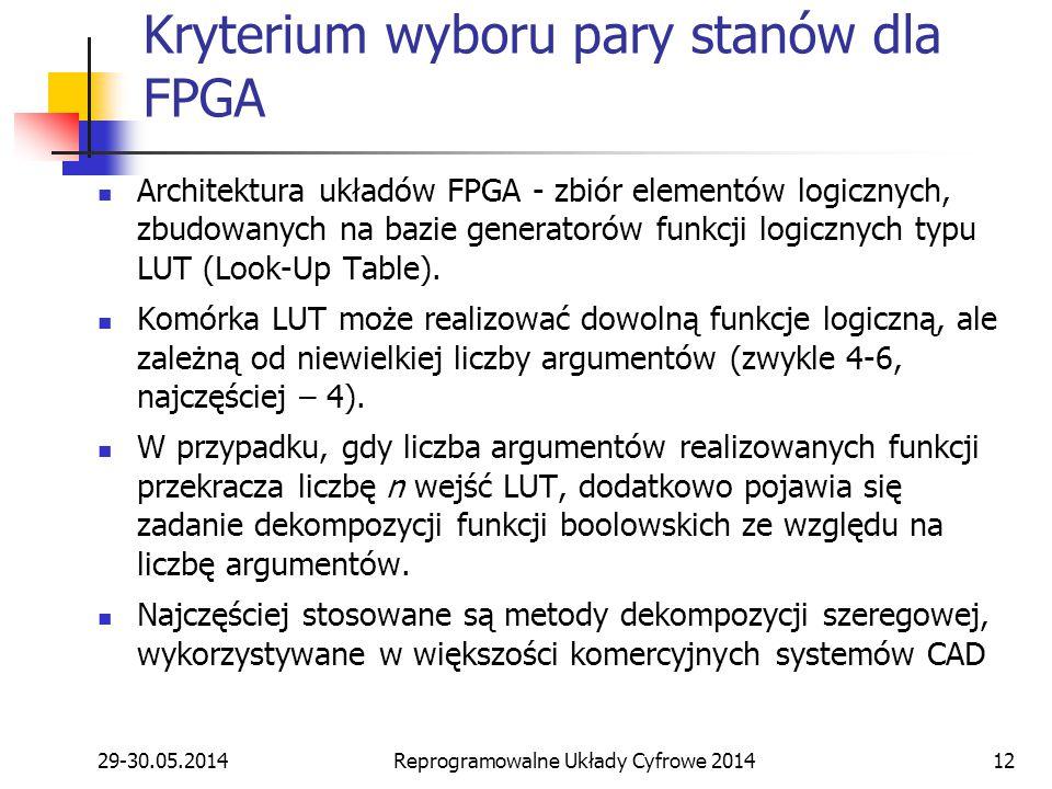 29-30.05.2014Reprogramowalne Układy Cyfrowe 201412 Kryterium wyboru pary stanów dla FPGA Architektura układów FPGA - zbiór elementów logicznych, zbudowanych na bazie generatorów funkcji logicznych typu LUT (Look-Up Table).