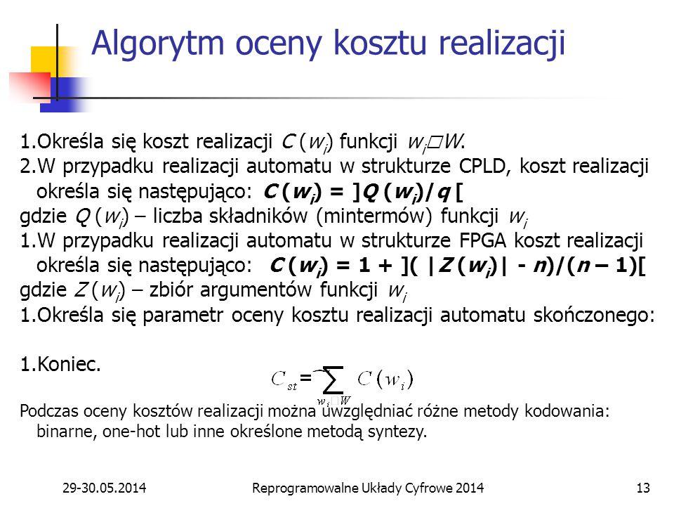 29-30.05.2014Reprogramowalne Układy Cyfrowe 201413 1.Określa się koszt realizacji C (w i ) funkcji w i  W. 2.W przypadku realizacji automatu w strukt