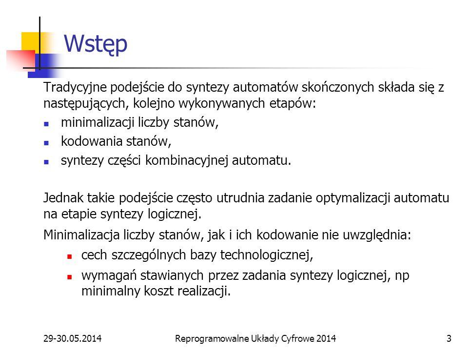 29-30.05.2014Reprogramowalne Układy Cyfrowe 20143 Wstęp Tradycyjne podejście do syntezy automatów skończonych składa się z następujących, kolejno wyko