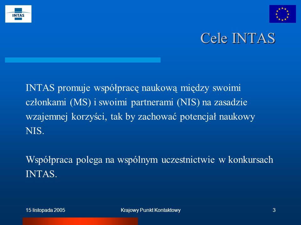 15 listopada 2005Krajowy Punkt Kontaktowy3 Cele INTAS INTAS promuje współpracę naukową między swoimi członkami (MS) i swoimi partnerami (NIS) na zasadzie wzajemnej korzyści, tak by zachować potencjał naukowy NIS.