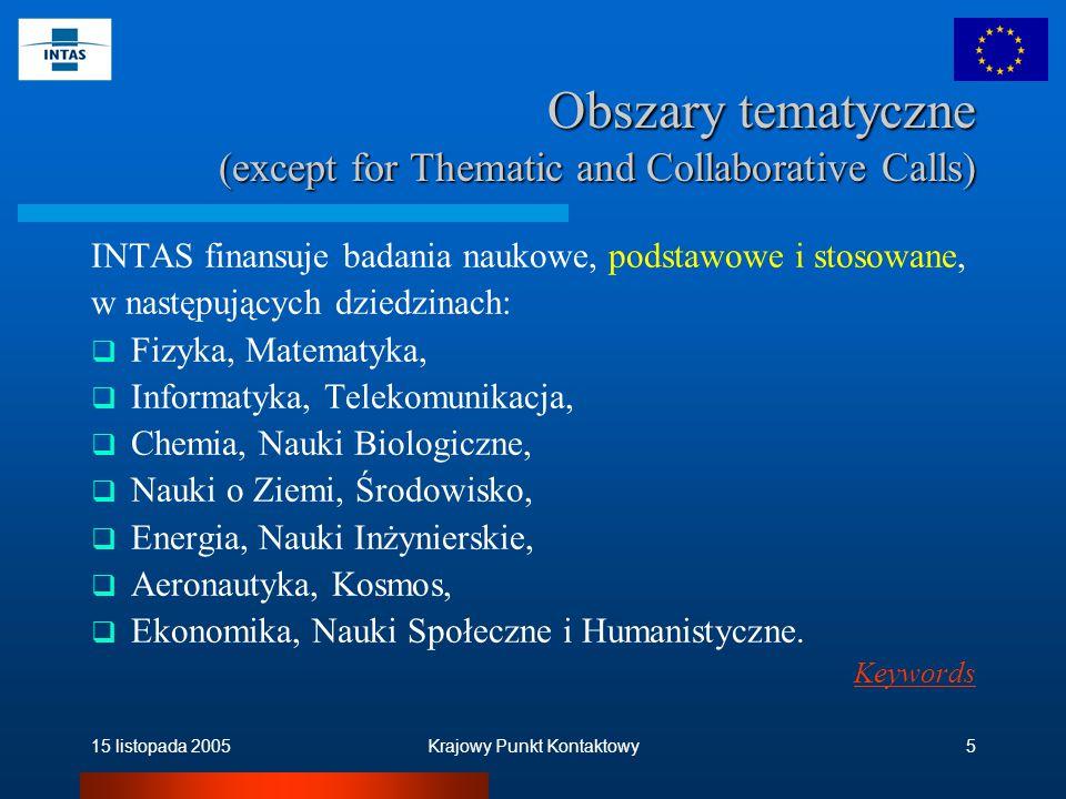 15 listopada 2005Krajowy Punkt Kontaktowy5 Obszary tematyczne (except for Thematic and Collaborative Calls) INTAS finansuje badania naukowe, podstawowe i stosowane, w następujących dziedzinach:  Fizyka, Matematyka,  Informatyka, Telekomunikacja,  Chemia, Nauki Biologiczne,  Nauki o Ziemi, Środowisko,  Energia, Nauki Inżynierskie,  Aeronautyka, Kosmos,  Ekonomika, Nauki Społeczne i Humanistyczne.