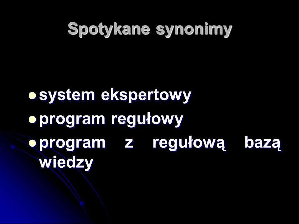 Spotykane synonimy system ekspertowy system ekspertowy program regułowy program regułowy program z regułową bazą wiedzy program z regułową bazą wiedzy
