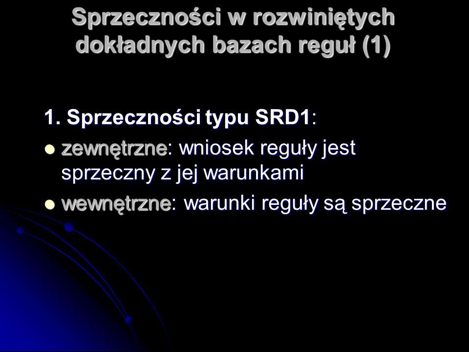 Sprzeczności w rozwiniętych dokładnych bazach reguł (1) 1. Sprzeczności typu SRD1: zewnętrzne: wniosek reguły jest sprzeczny z jej warunkami zewnętrzn