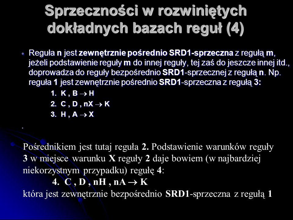 Sprzeczności w rozwiniętych dokładnych bazach reguł (4)  Reguła n jest zewnętrznie pośrednio SRD1-sprzeczna z regułą m, jeżeli podstawienie reguły m