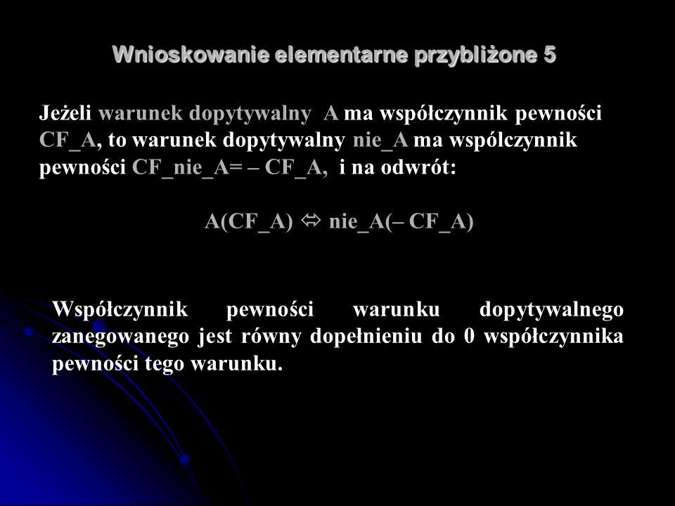 Wnioskowanie elementarne przybliżone 5 Wnioskowanie elementarne przybliżone 5 Jeżeli warunek dopytywalny A ma współczynnik pewności CF_A, to warunek d