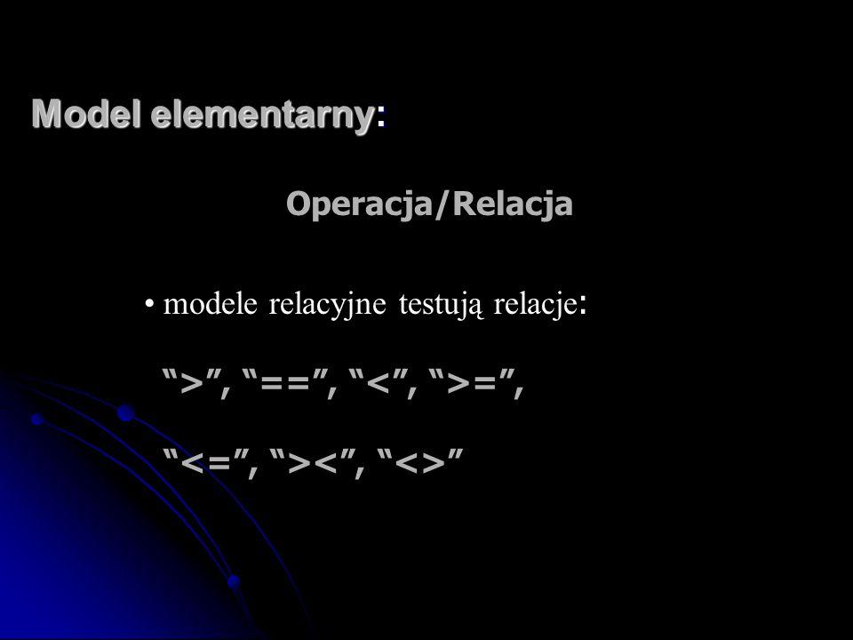 """Model elementarny: Operacja/Relacja modele relacyjne testują relacje : """">"""", """"=="""", """" ="""", """" """""""