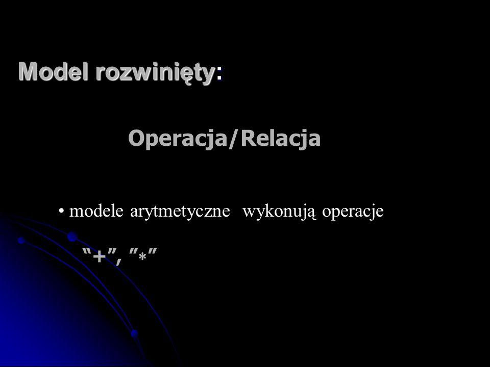 """Model rozwinięty: Operacja/Relacja modele arytmetyczne wykonują operacje """"+"""", """"  """""""