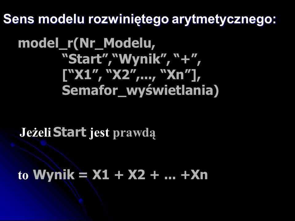 """Sens modelu rozwiniętego arytmetycznego: model_r(Nr_Modelu, """"Start"""",""""Wynik"""", """"+"""", [""""X1"""", """"X2"""",..., """"Xn""""], Semafor_wyświetlania) to Wynik = X1 + X2 +.."""