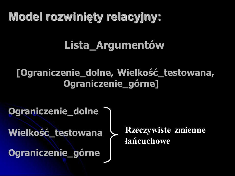 Model rozwinięty relacyjny: Lista_Argumentów [Ograniczenie_dolne, Wielkość_testowana, Ograniczenie_górne] Rzeczywiste zmienne łańcuchowe Ograniczenie_
