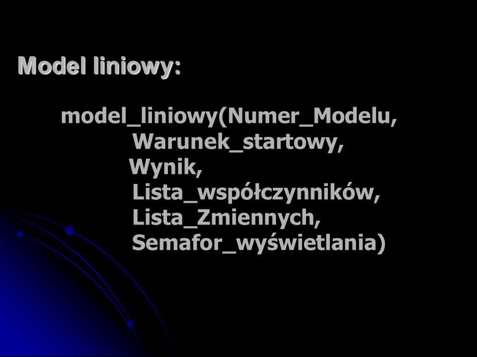 Model liniowy: model_liniowy(Numer_Modelu, Warunek_startowy, Wynik, Lista_współczynników, Lista_Zmiennych, Semafor_wyświetlania)
