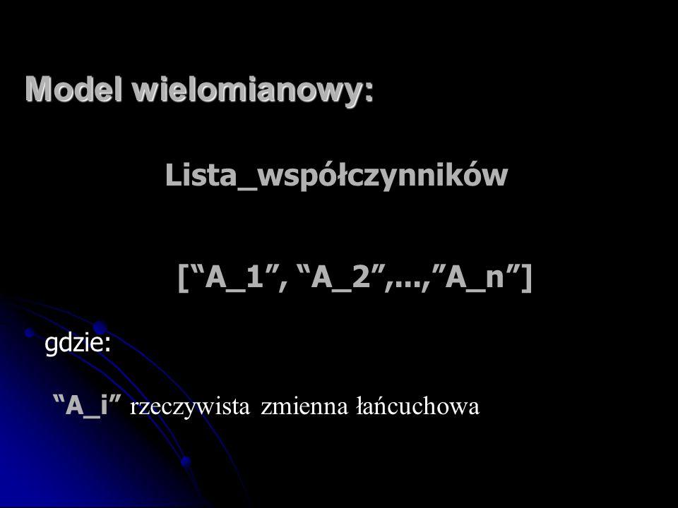"""Model wielomianowy: Lista_współczynników [""""A_1"""", """"A_2"""",...,""""A_n""""] gdzie: """"A_i"""" rzeczywista zmienna łańcuchowa"""