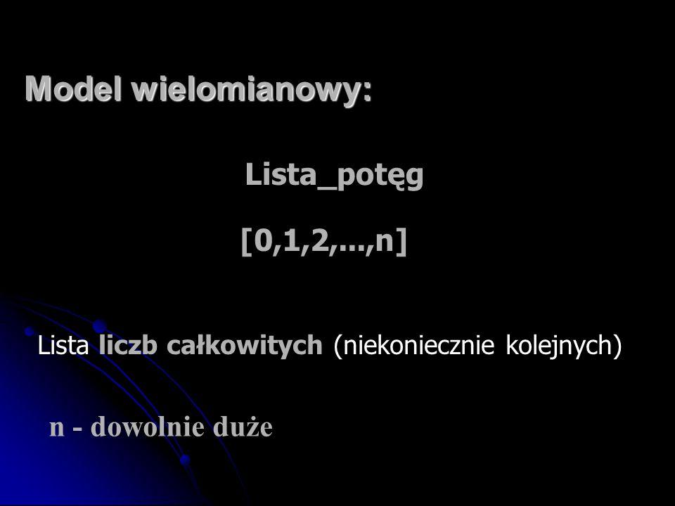 Model wielomianowy: Lista_potęg [0,1,2,...,n] n - dowolnie duże Lista liczb całkowitych (niekoniecznie kolejnych)