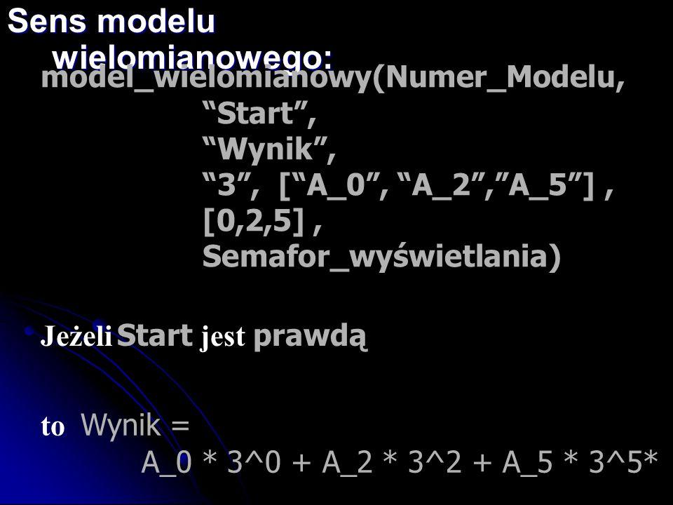 """to Wynik = A_0 * 3^0 + A_2 * 3^2 + A_5 * 3^5* Sens modelu wielomianowego: model_wielomianowy(Numer_Modelu, """"Start"""", """"Wynik"""", """"3"""", [""""A_0"""", """"A_2"""",""""A_5""""]"""