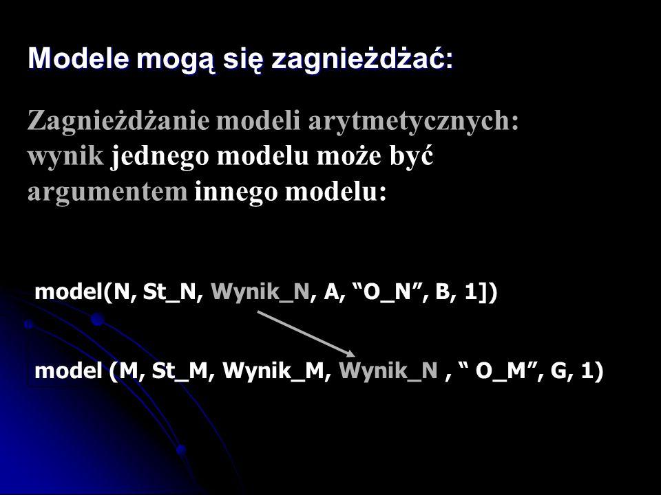 """Modele mogą się zagnieżdżać: Zagnieżdżanie modeli arytmetycznych: wynik jednego modelu może być argumentem innego modelu: model(N, St_N, Wynik_N, A, """""""