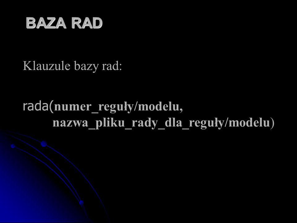 BAZA RAD rada( numer_reguły/modelu, nazwa_pliku_rady_dla_reguły/modelu) Klauzule bazy rad: