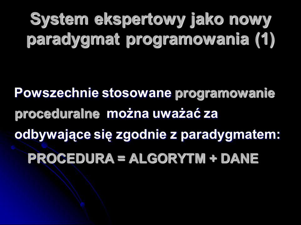 System ekspertowy jako nowy paradygmat programowania (1) Powszechnie stosowane programowanie proceduralne można uważać za odbywające się zgodnie z par