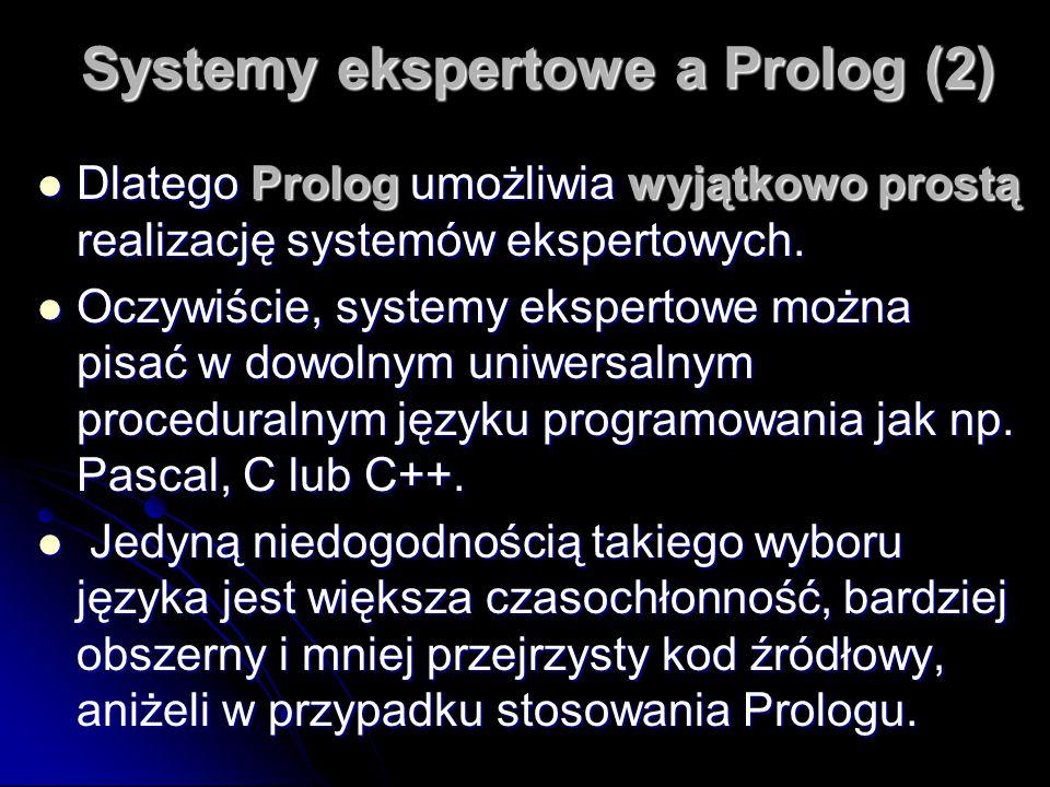 Systemy ekspertowe a Prolog (2) Dlatego Prolog umożliwia wyjątkowo prostą realizację systemów ekspertowych. Dlatego Prolog umożliwia wyjątkowo prostą