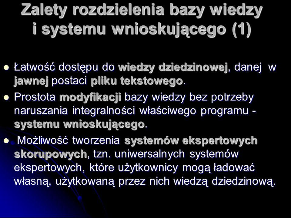 Zalety rozdzielenia bazy wiedzy i systemu wnioskującego (1) Łatwość dostępu do wiedzy dziedzinowej, danej w jawnej postaci pliku tekstowego. Łatwość d