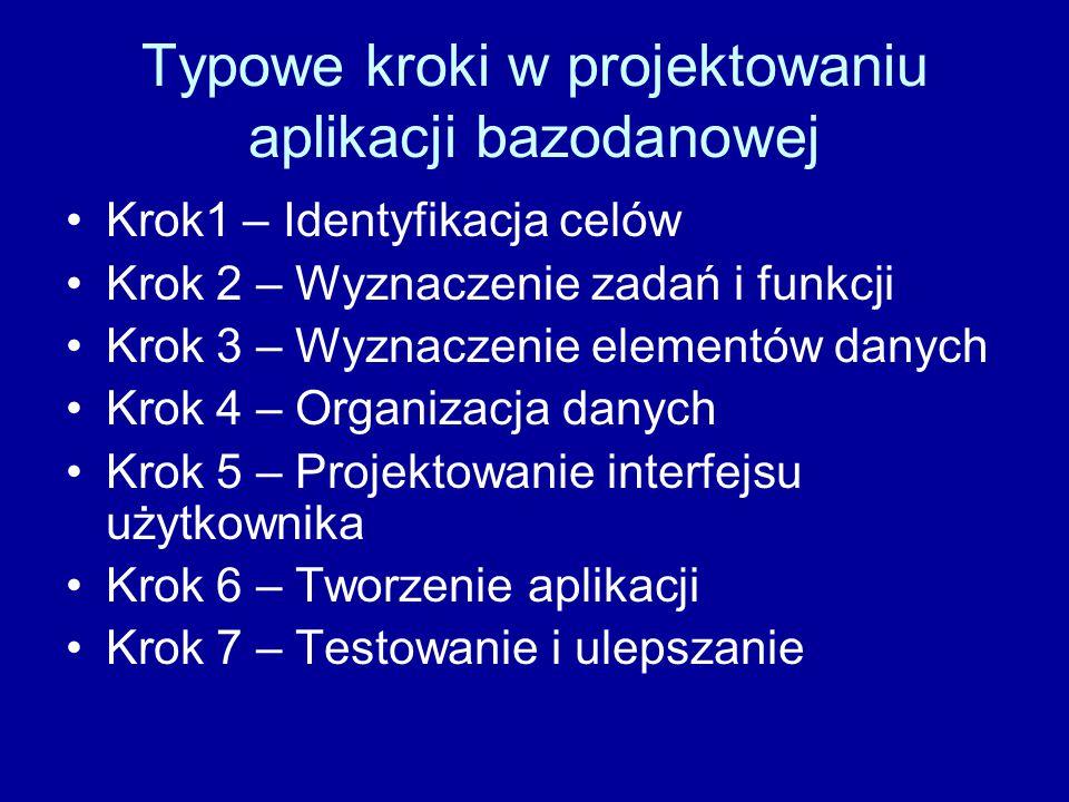 Typowe kroki w projektowaniu aplikacji bazodanowej Krok1 – Identyfikacja celów Krok 2 – Wyznaczenie zadań i funkcji Krok 3 – Wyznaczenie elementów dan